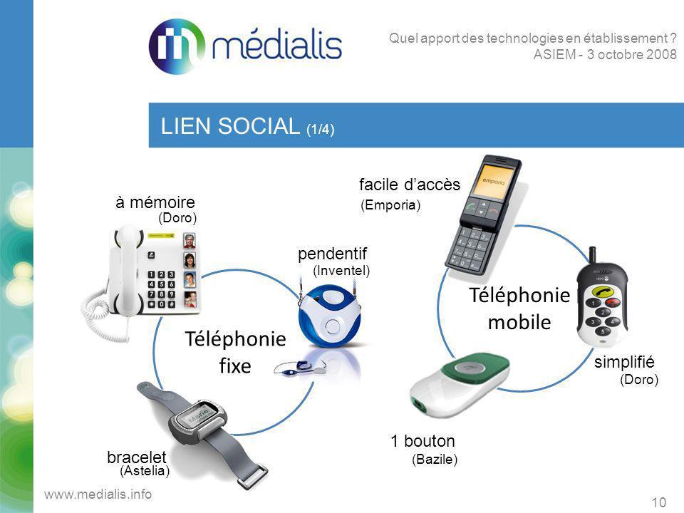 LIEN SOCIAL (1/4) Téléphonie mobile Téléphonie fixe facile d'accès