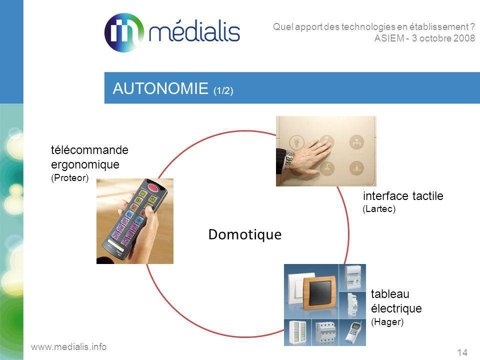 AUTONOMIE (1/2) Domotique télécommande ergonomique interface tactile
