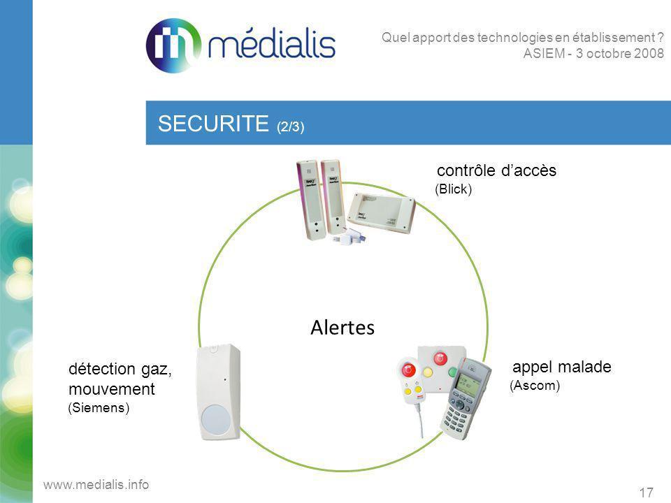 SECURITE (2/3) Alertes contrôle d'accès appel malade