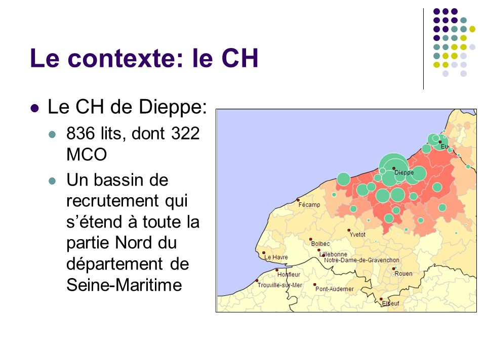 Le contexte: le CH Le CH de Dieppe: 836 lits, dont 322 MCO
