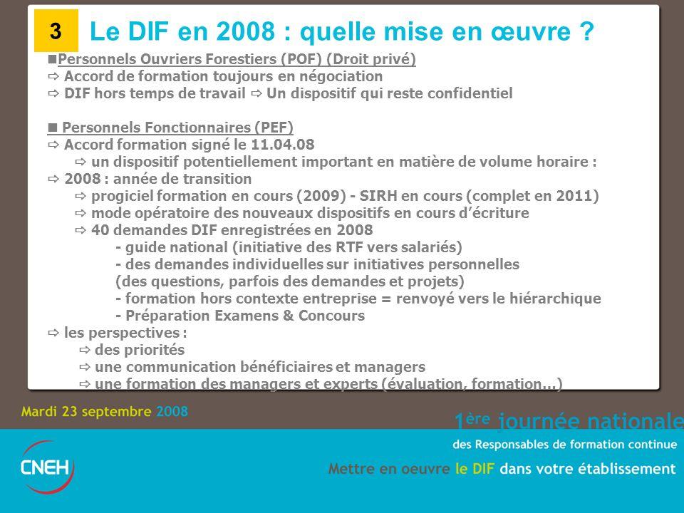 Le DIF en 2008 : quelle mise en œuvre