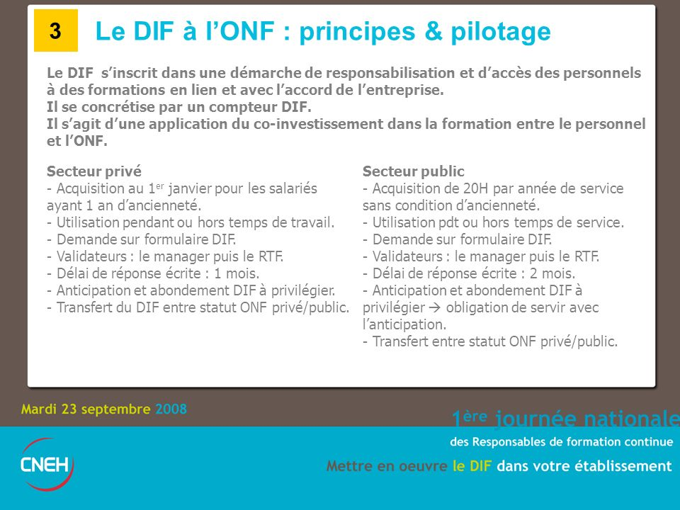 Le DIF à l'ONF : principes & pilotage