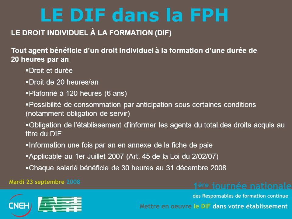 LE DIF dans la FPH LE DROIT INDIVIDUEL À LA FORMATION (DIF)