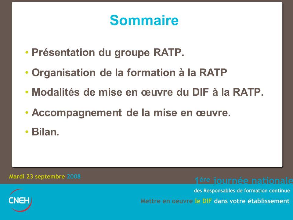 Sommaire Présentation du groupe RATP.