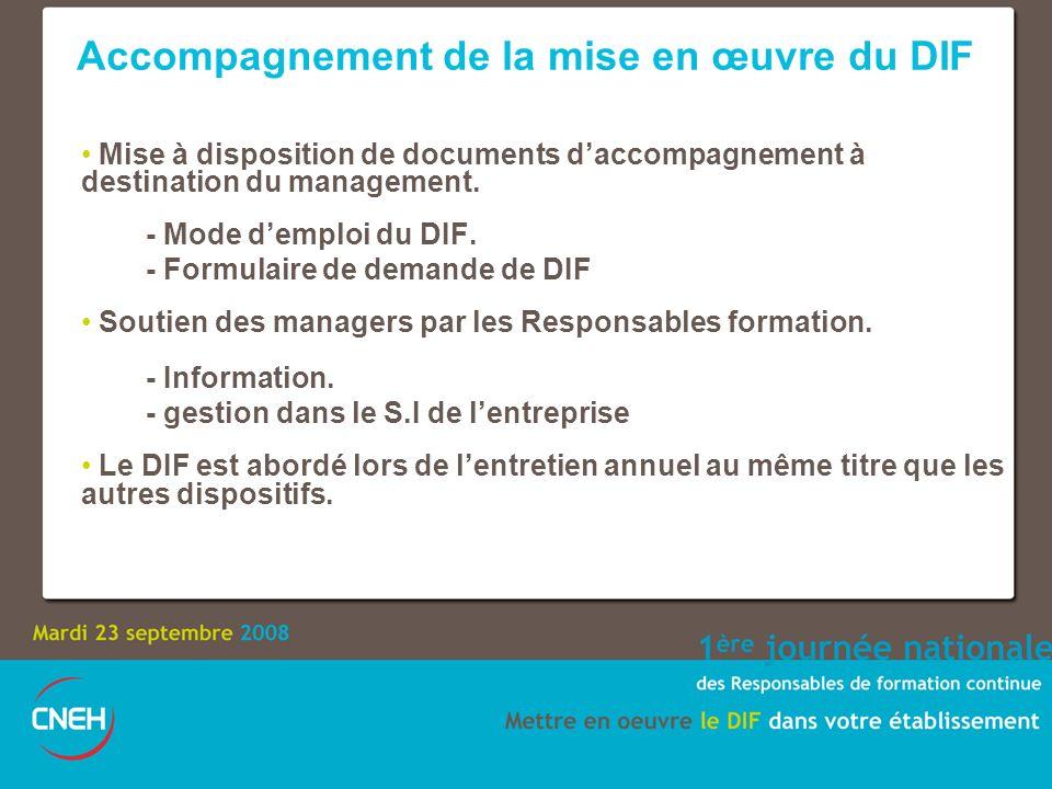 Accompagnement de la mise en œuvre du DIF