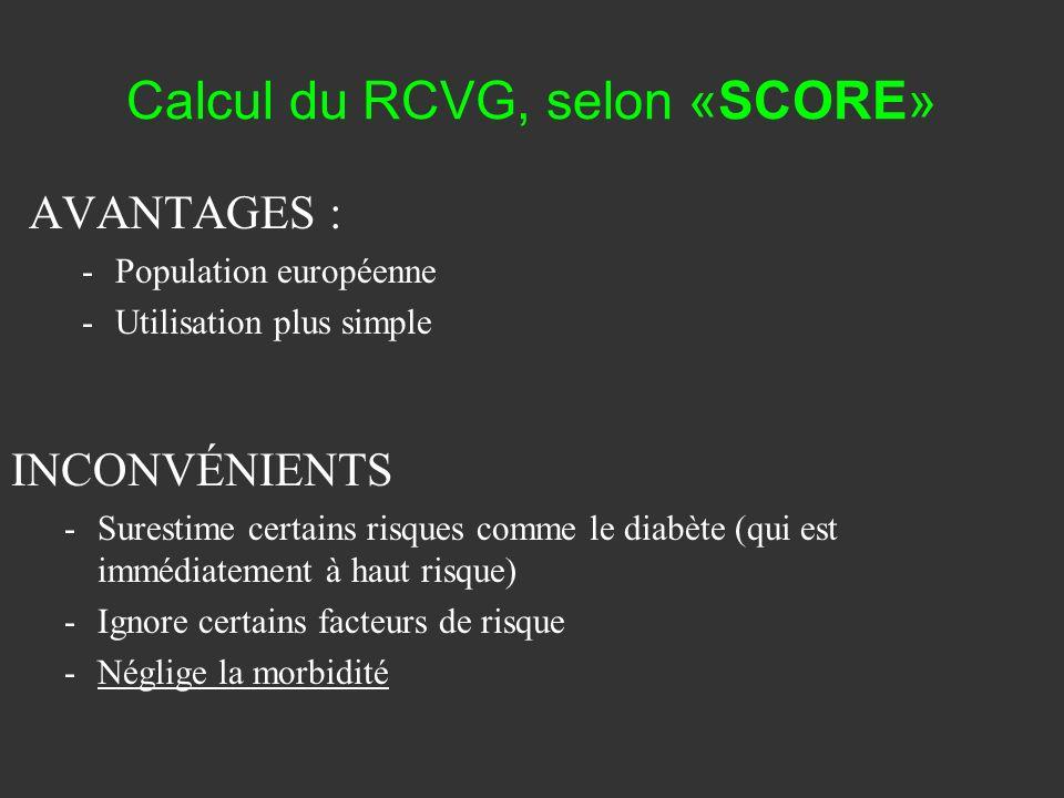 Calcul du RCVG, selon «SCORE»