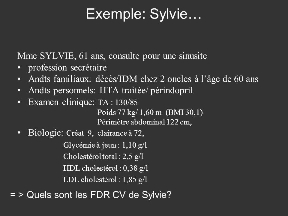 Exemple: Sylvie… Mme SYLVIE, 61 ans, consulte pour une sinusite