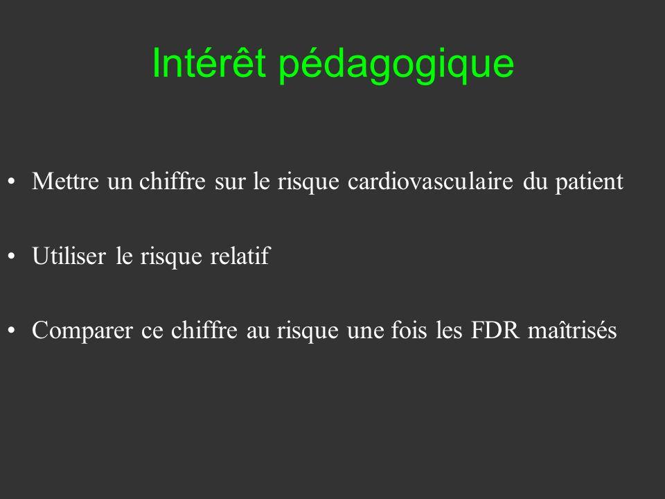 Intérêt pédagogique Mettre un chiffre sur le risque cardiovasculaire du patient. Utiliser le risque relatif.