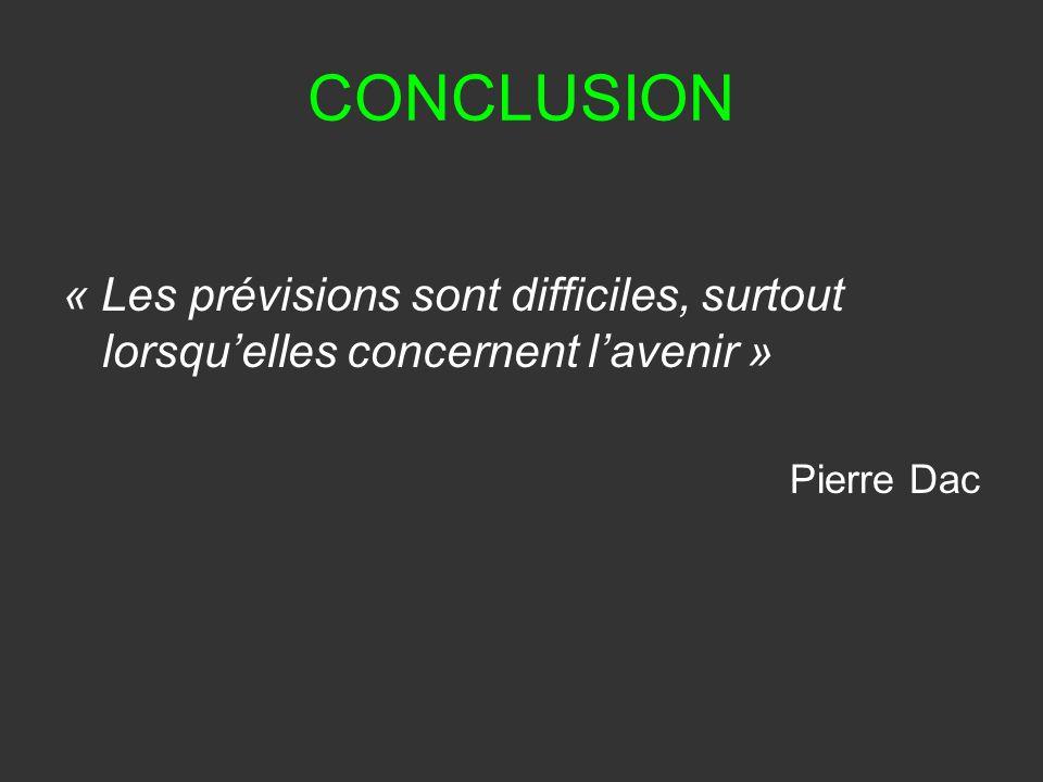 CONCLUSION « Les prévisions sont difficiles, surtout lorsqu'elles concernent l'avenir » Pierre Dac