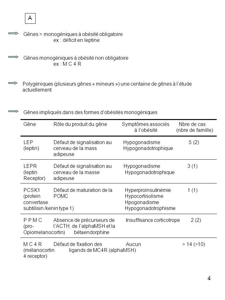 A Gênes = monogéniques à obésité obligatoire ex : déficit en leptine