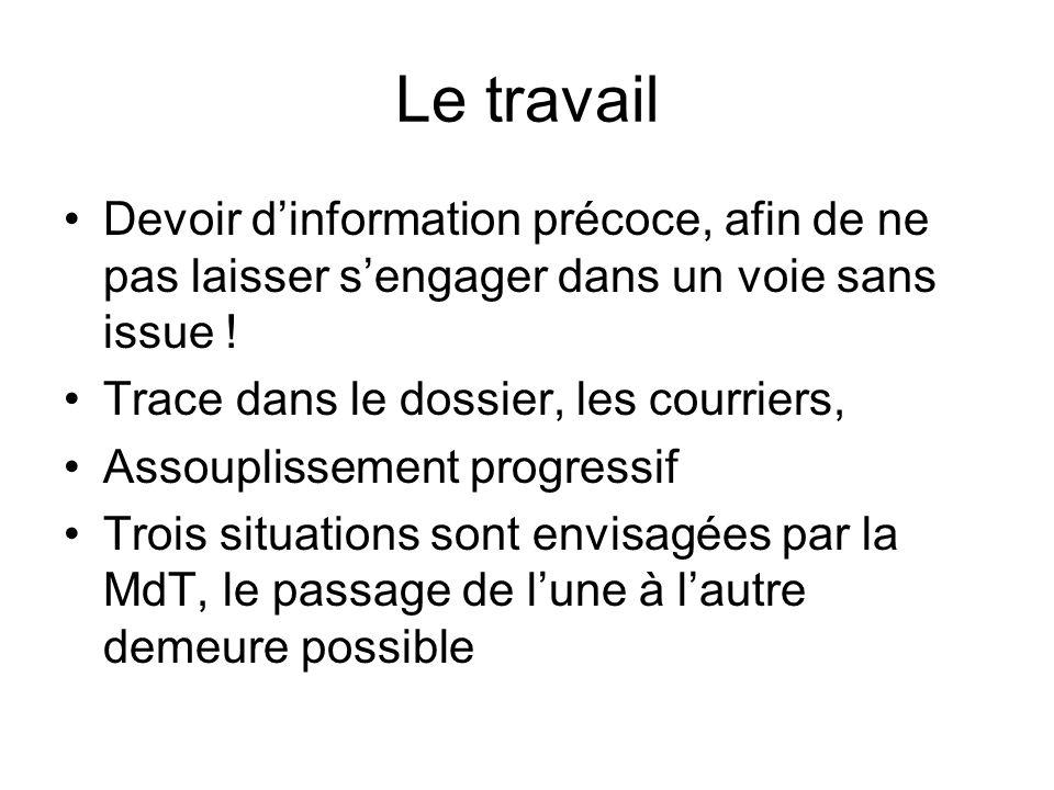 Le travail Devoir d'information précoce, afin de ne pas laisser s'engager dans un voie sans issue !