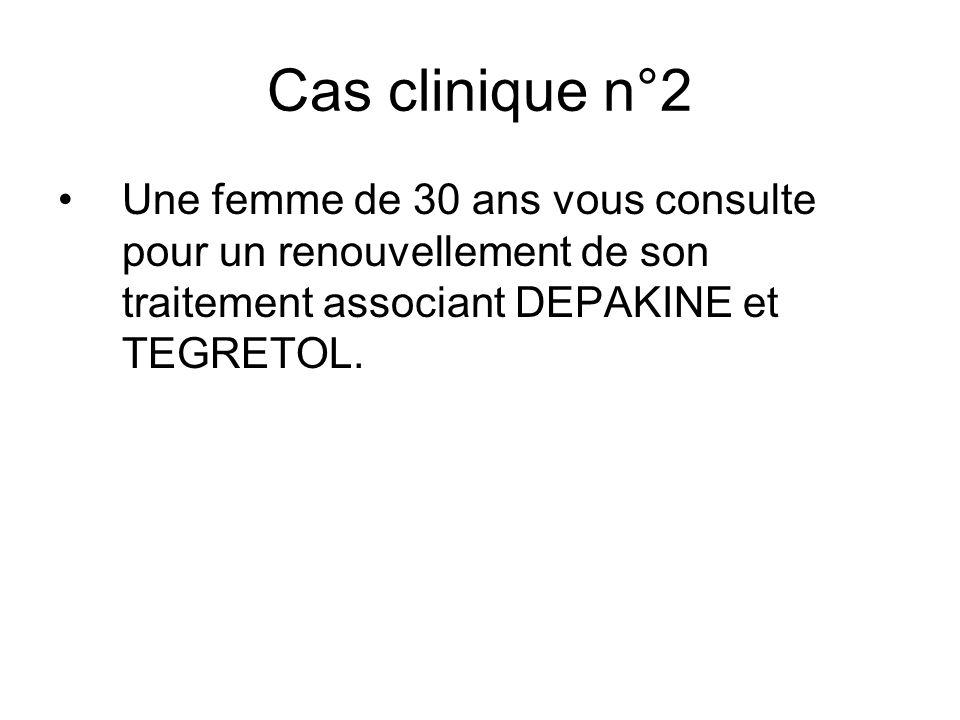 Cas clinique n°2Une femme de 30 ans vous consulte pour un renouvellement de son traitement associant DEPAKINE et TEGRETOL.