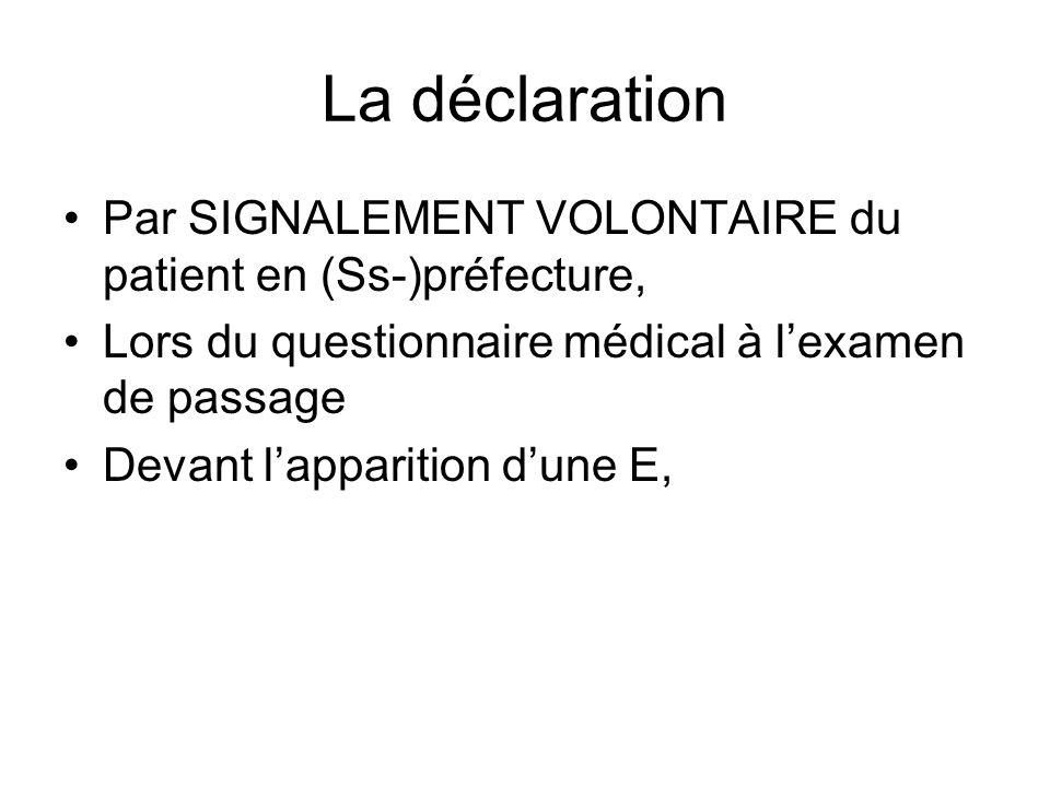 La déclarationPar SIGNALEMENT VOLONTAIRE du patient en (Ss-)préfecture, Lors du questionnaire médical à l'examen de passage.
