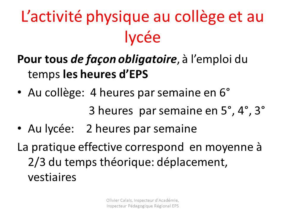 L'activité physique au collège et au lycée