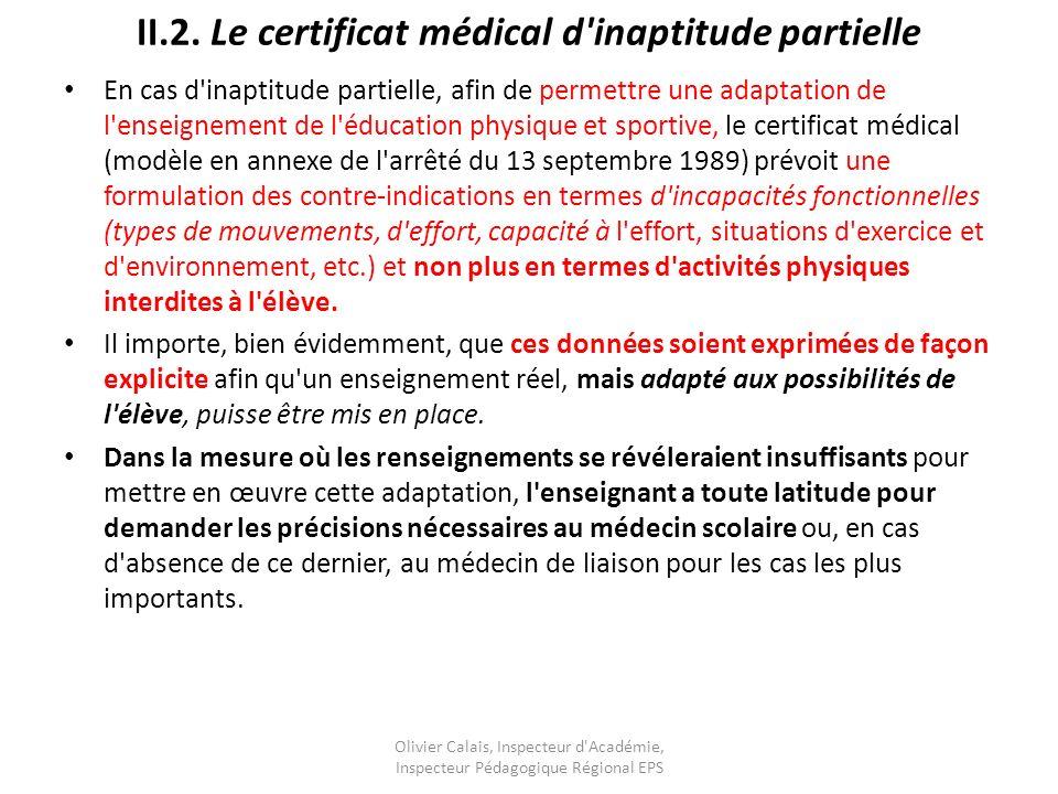 II.2. Le certificat médical d inaptitude partielle