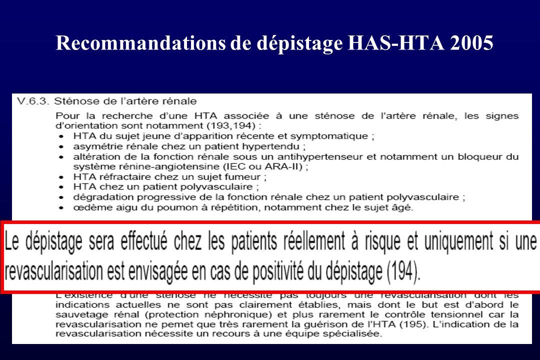 Recommandations de dépistage HAS-HTA 2005