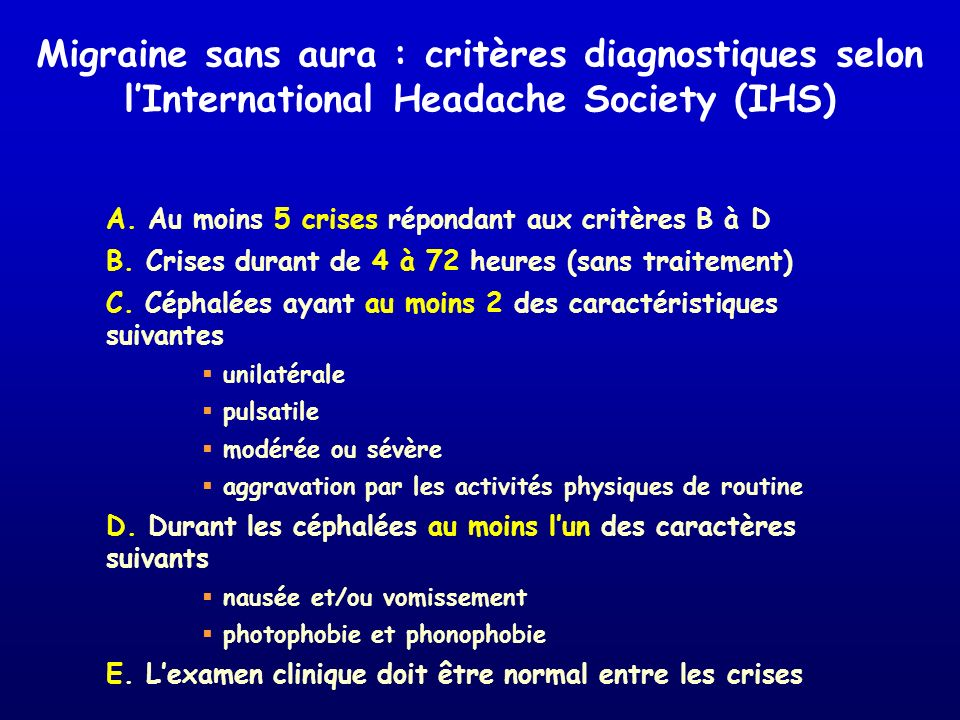 Migraine sans aura : critères diagnostiques selon l'International Headache Society (IHS)