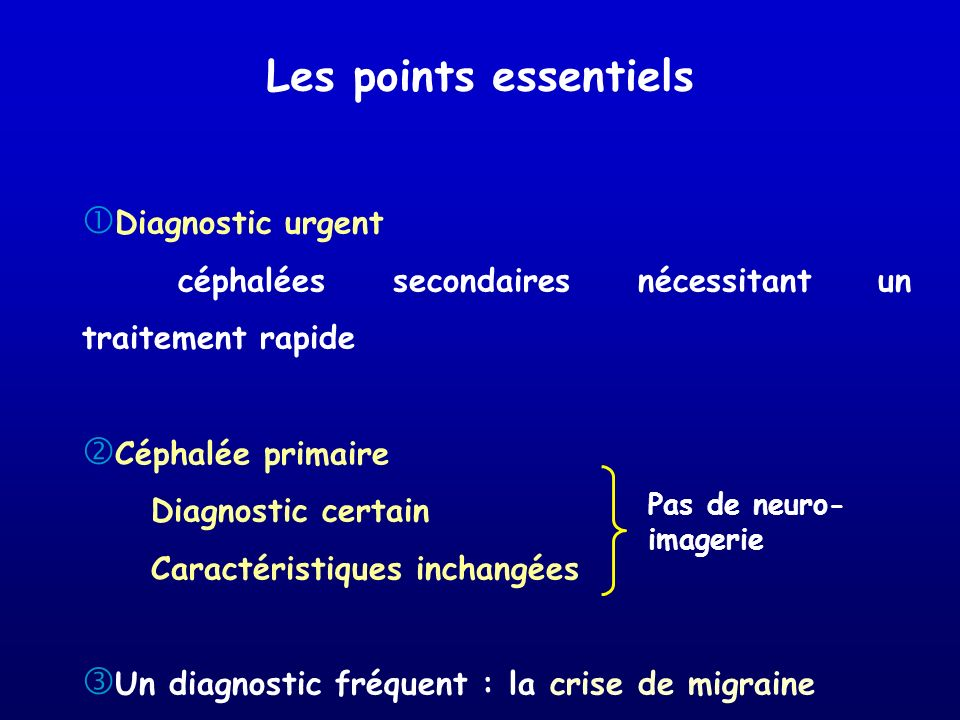 Les points essentiels Diagnostic urgent