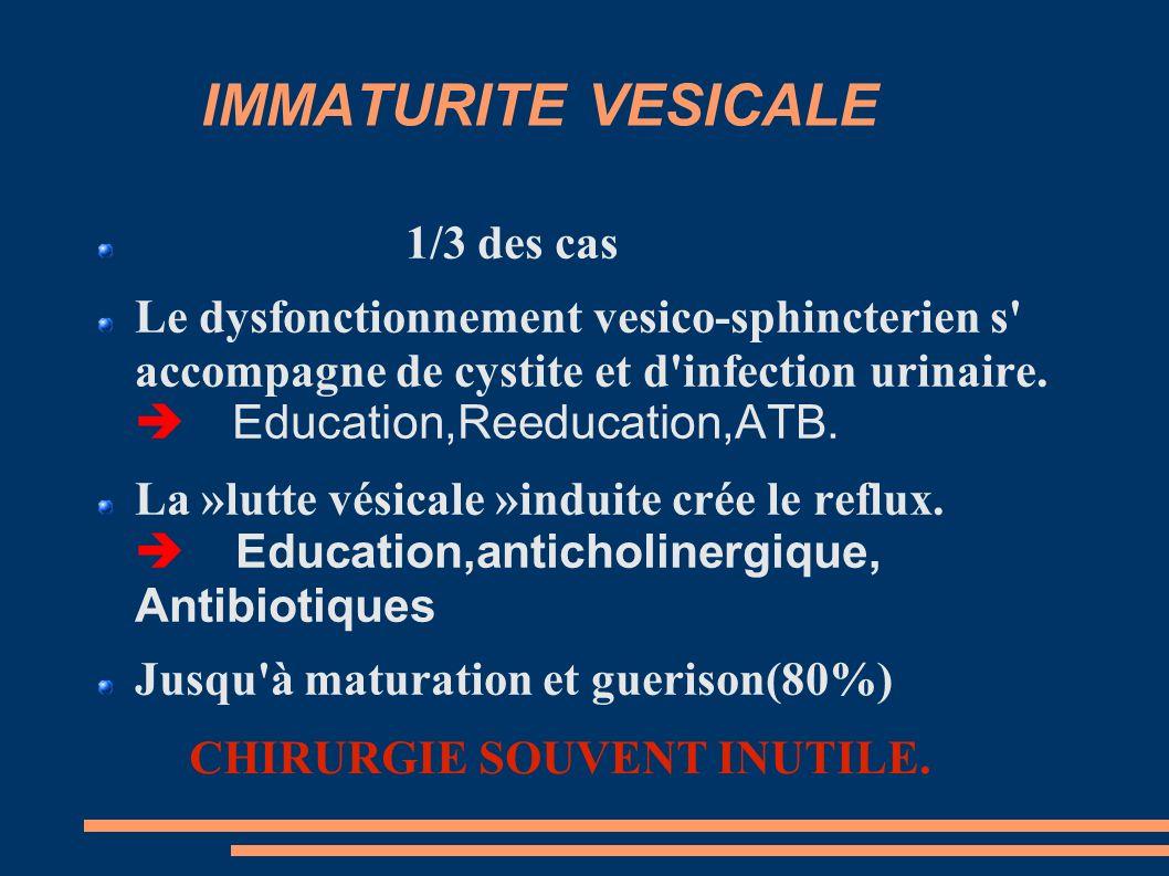 IMMATURITE VESICALE 1/3 des cas