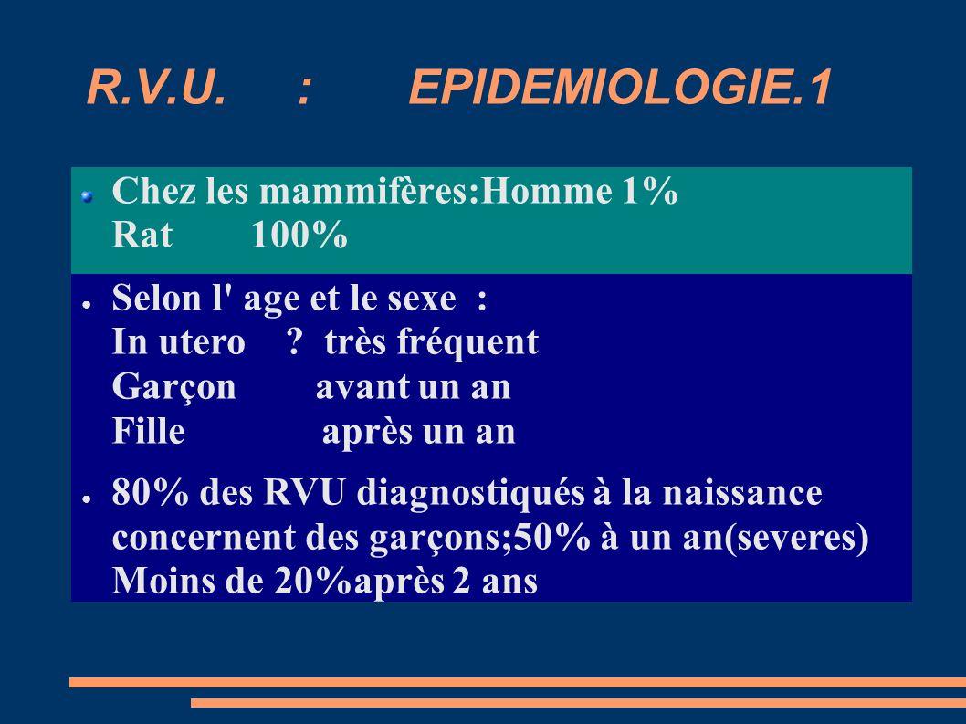 R.V.U. : EPIDEMIOLOGIE.1 Chez les mammifères:Homme 1% Rat 100%