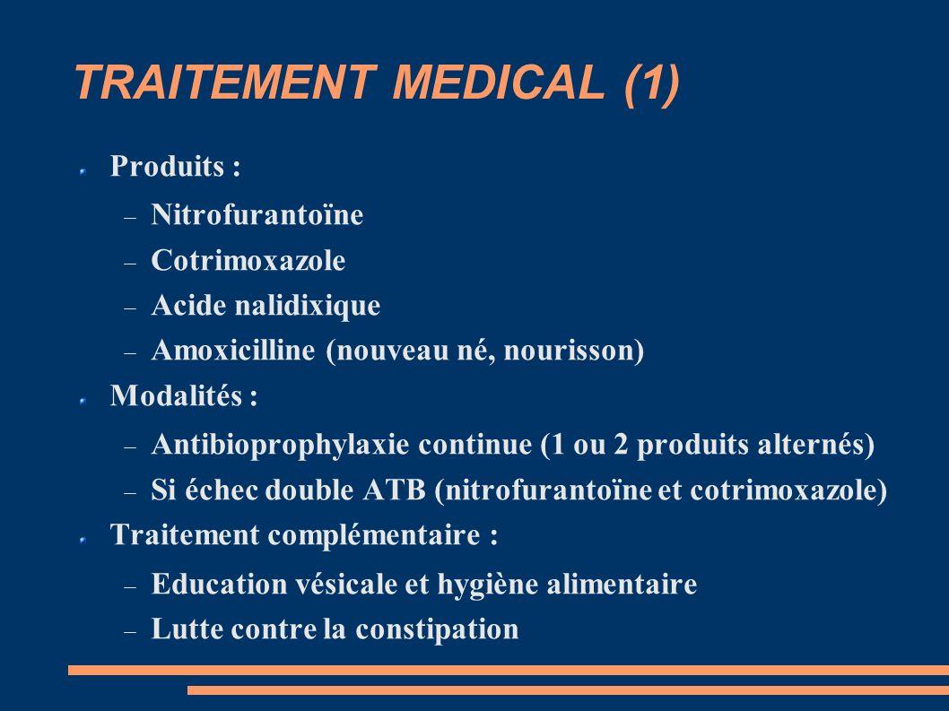 TRAITEMENT MEDICAL (1) Produits : Nitrofurantoïne Cotrimoxazole
