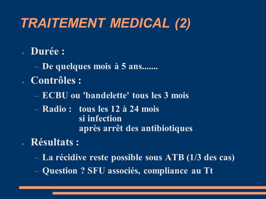 TRAITEMENT MEDICAL (2) Durée : Contrôles : Résultats :