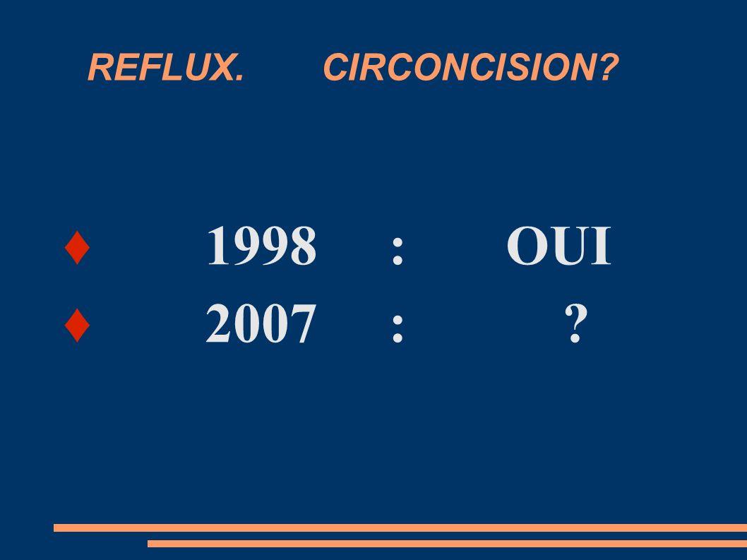 REFLUX. CIRCONCISION ♦ 1998 : OUI ♦ 2007 :