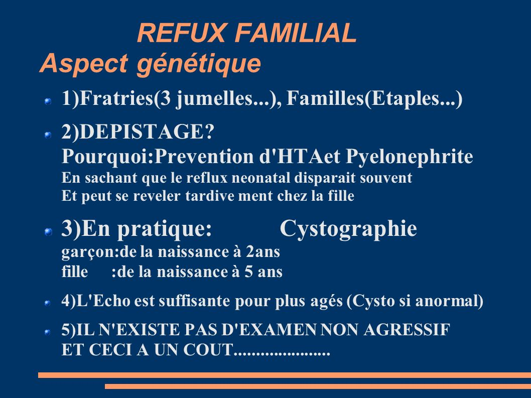 REFUX FAMILIAL Aspect génétique