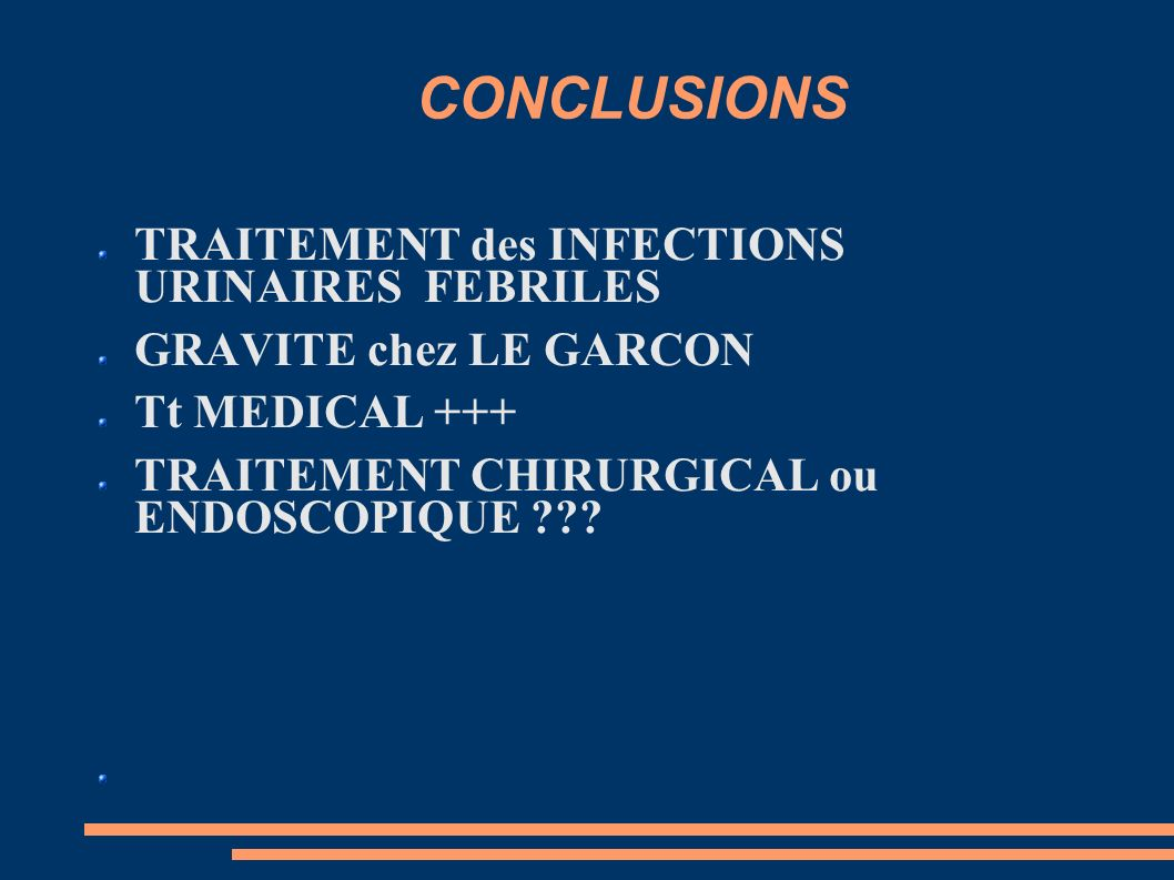 CONCLUSIONS TRAITEMENT des INFECTIONS URINAIRES FEBRILES