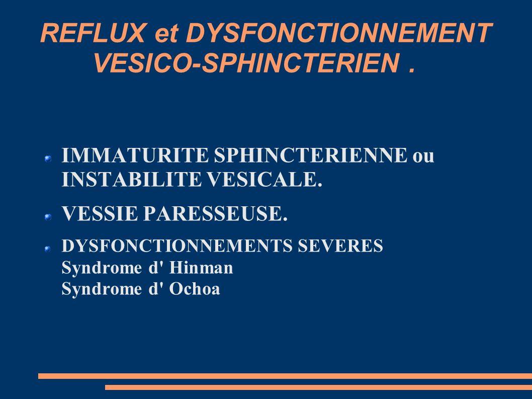 REFLUX et DYSFONCTIONNEMENT VESICO-SPHINCTERIEN .
