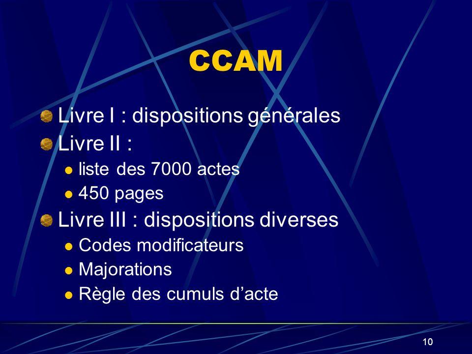 CCAM Livre I : dispositions générales Livre II :
