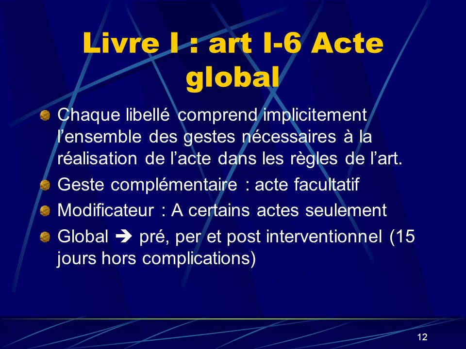 Livre I : art I-6 Acte global