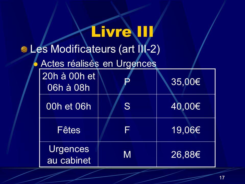 Livre III Les Modificateurs (art III-2) Actes réalisés en Urgences