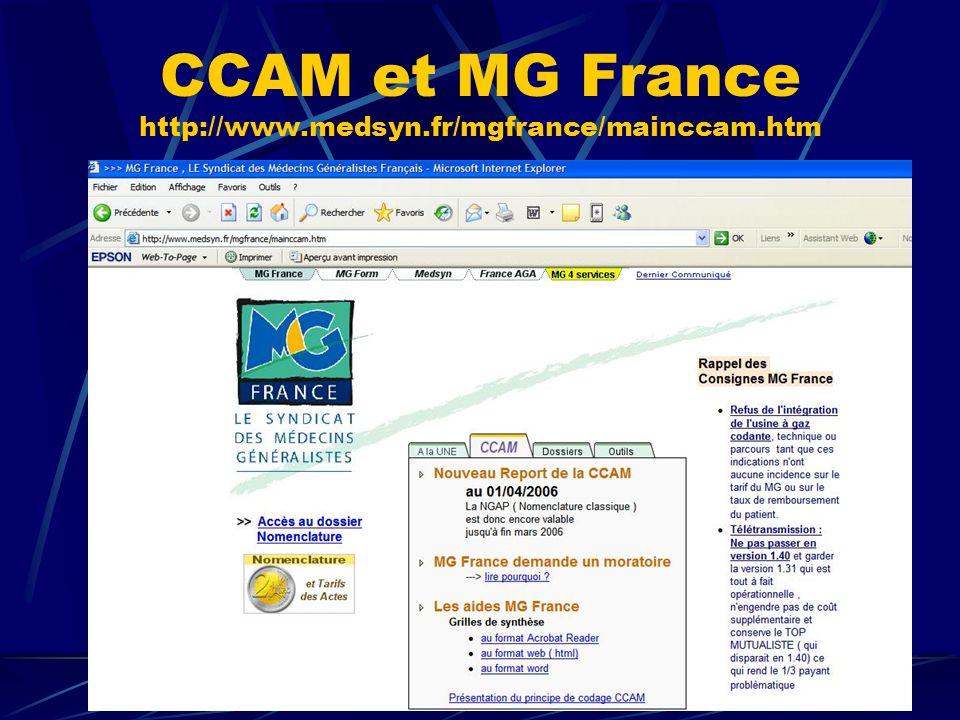 CCAM et MG France http://www.medsyn.fr/mgfrance/mainccam.htm