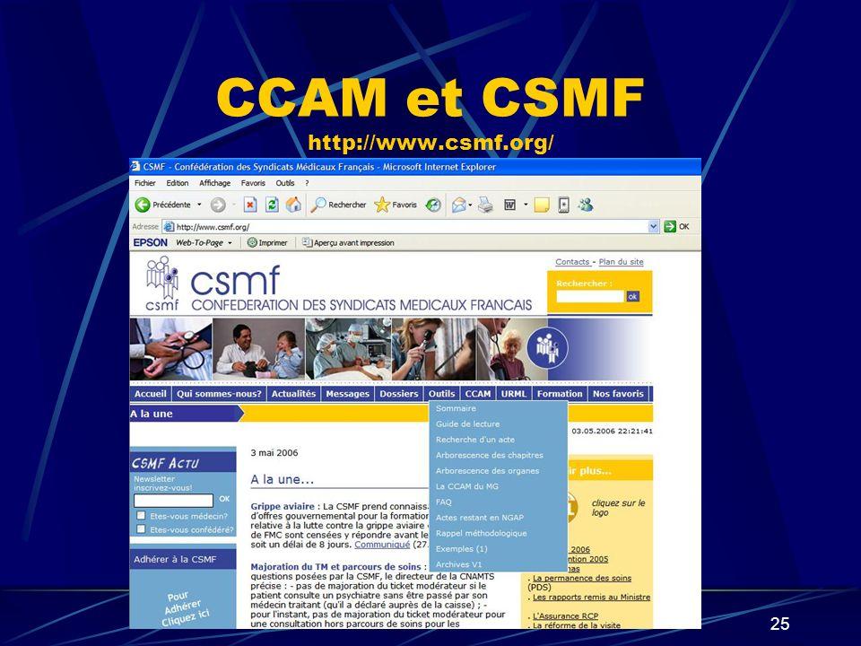 CCAM et CSMF http://www.csmf.org/