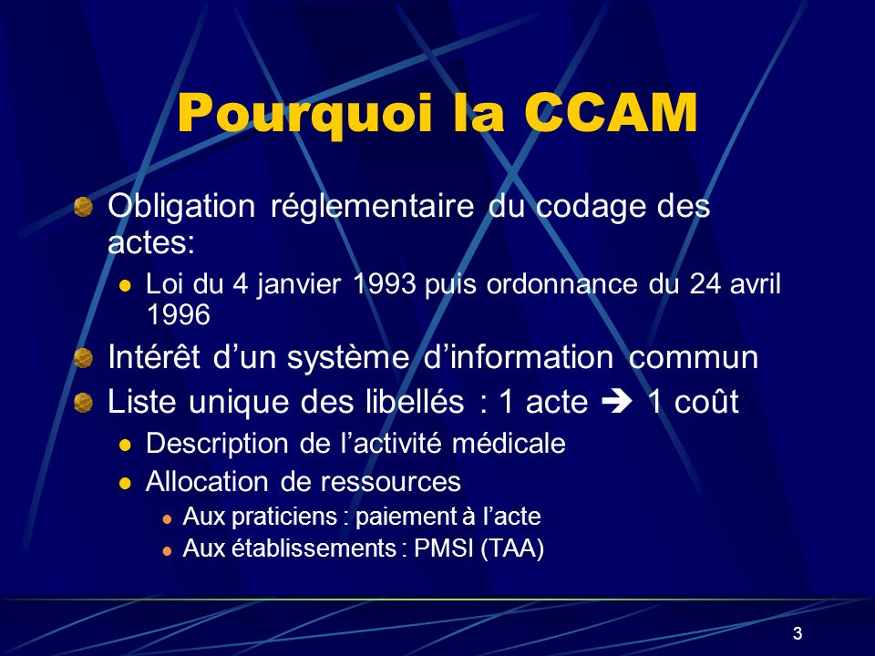 Pourquoi la CCAM Obligation réglementaire du codage des actes: