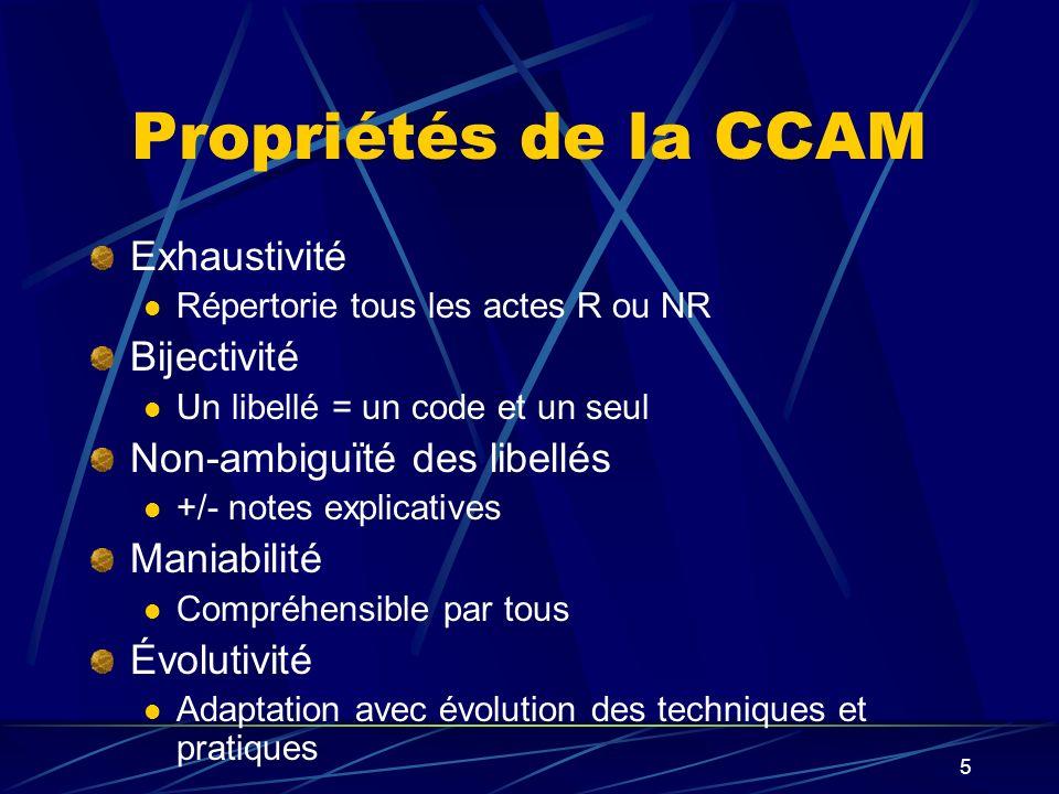 Propriétés de la CCAM Exhaustivité Bijectivité