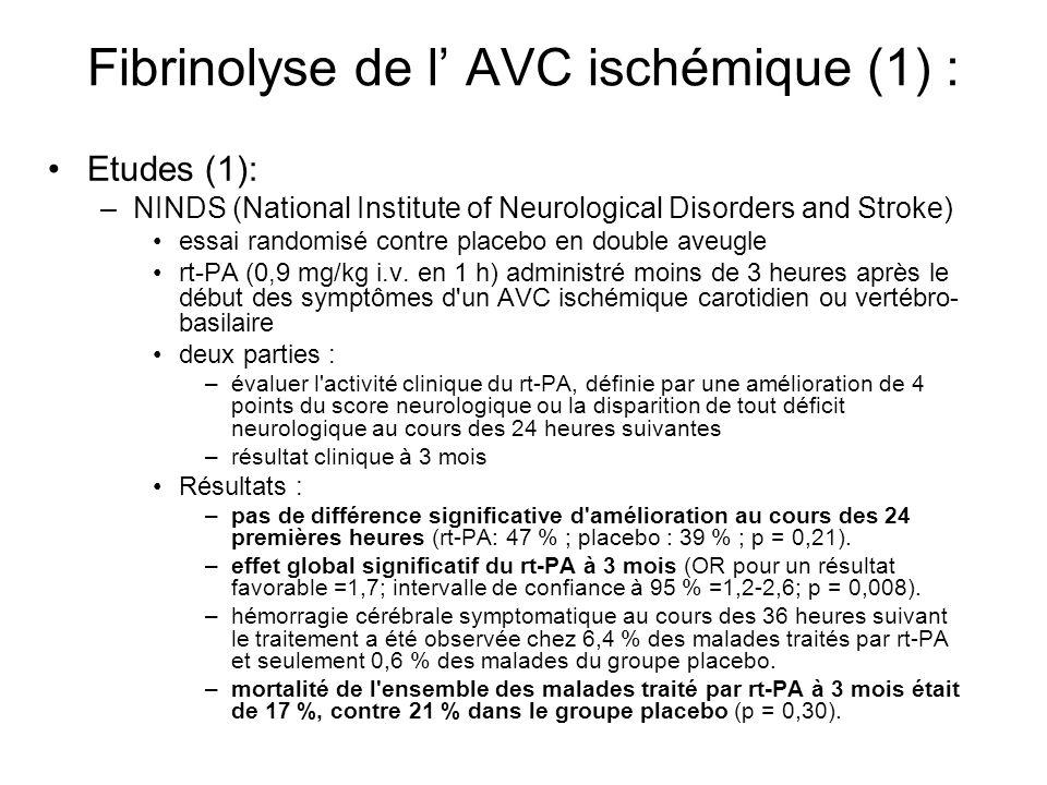 Fibrinolyse de l' AVC ischémique (1) :