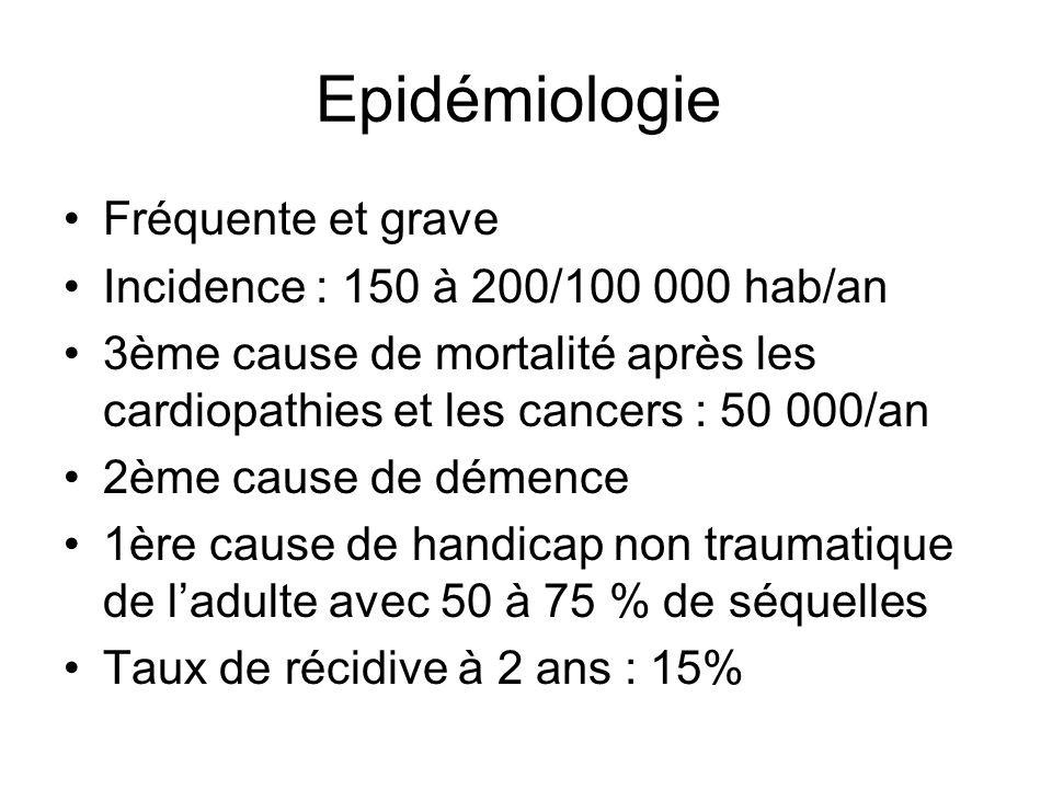 Epidémiologie Fréquente et grave Incidence : 150 à 200/100 000 hab/an