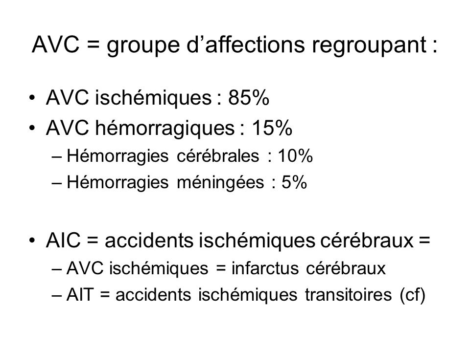 AVC = groupe d'affections regroupant :