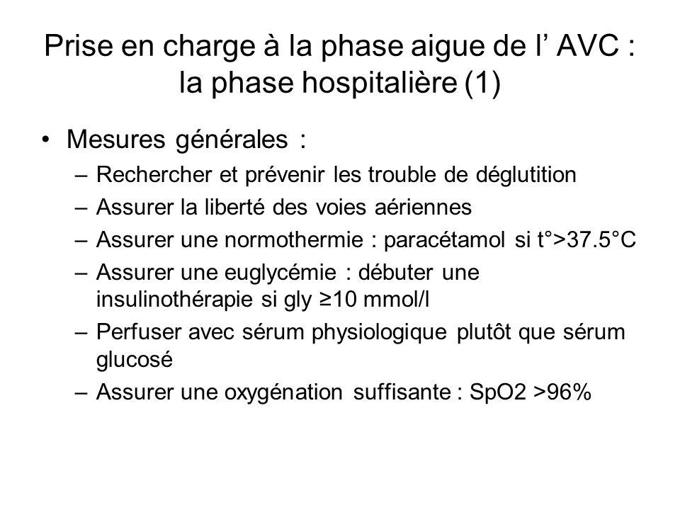Prise en charge à la phase aigue de l' AVC : la phase hospitalière (1)