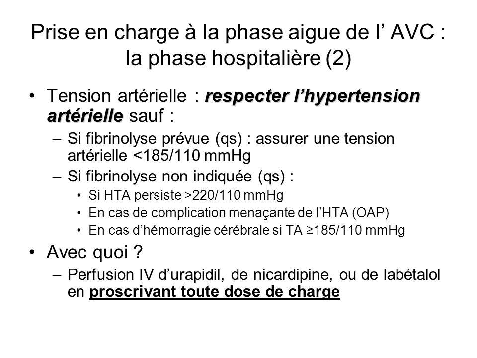 Prise en charge à la phase aigue de l' AVC : la phase hospitalière (2)