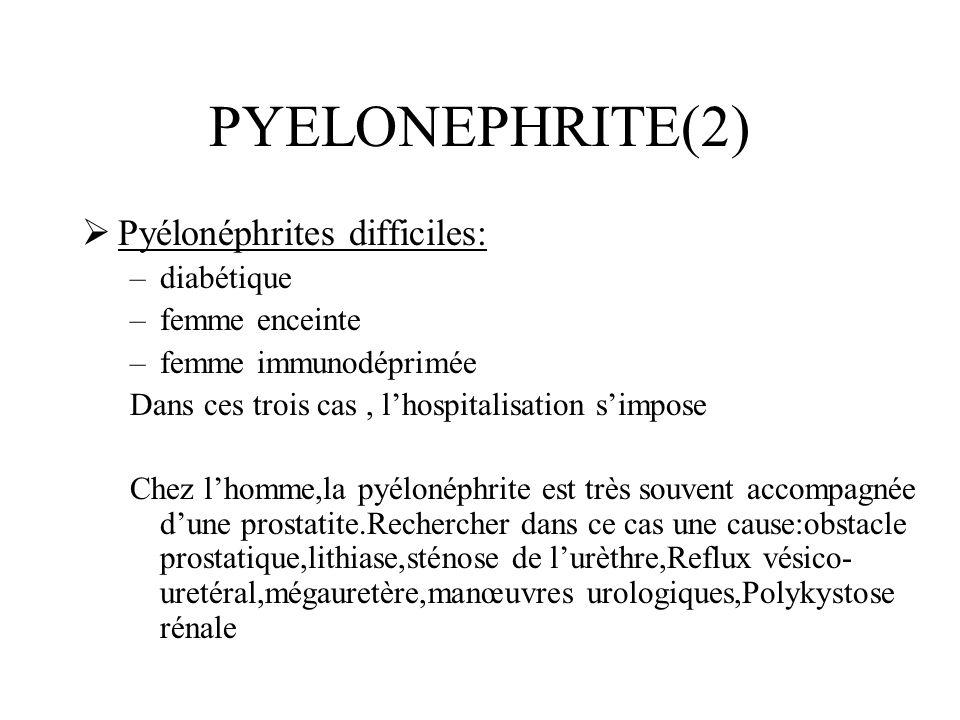 PYELONEPHRITE(2) Pyélonéphrites difficiles: diabétique femme enceinte