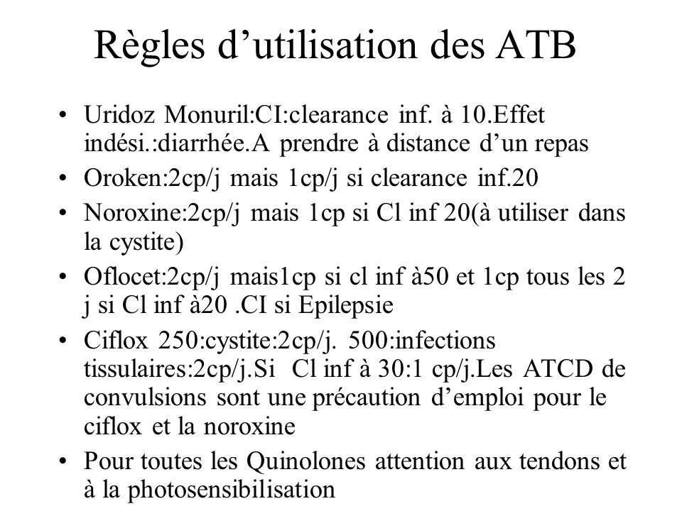 Règles d'utilisation des ATB
