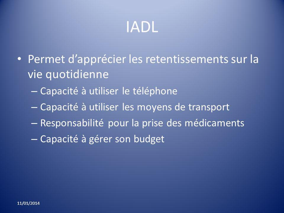 IADL Permet d'apprécier les retentissements sur la vie quotidienne