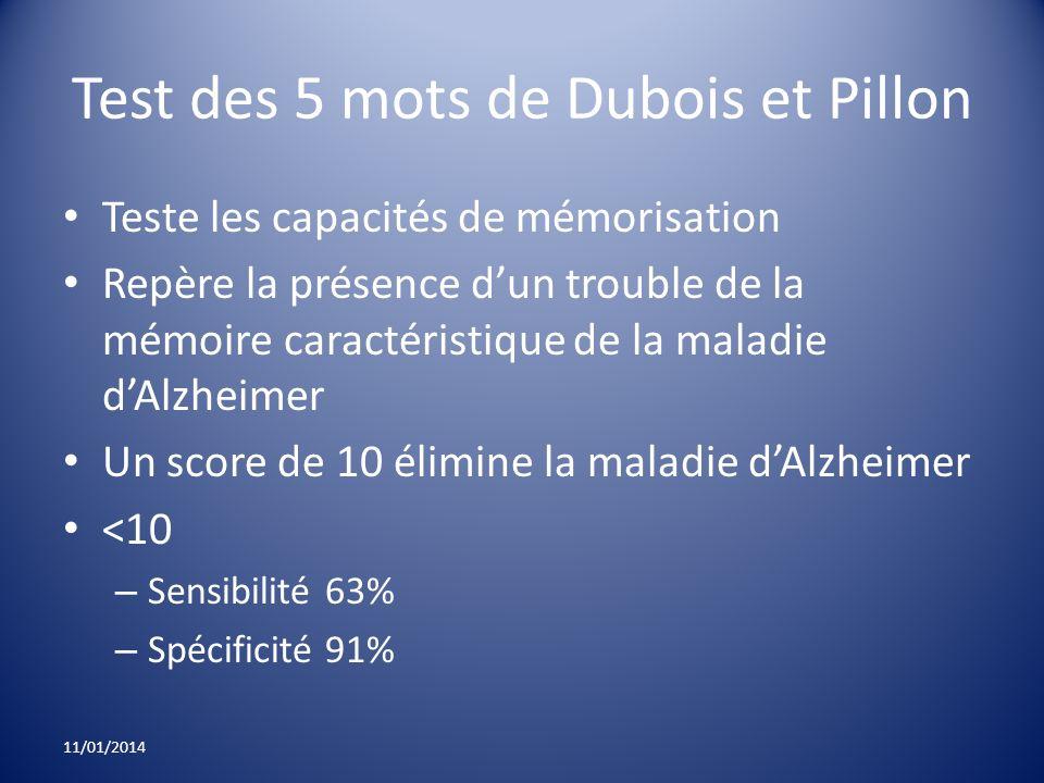 Test des 5 mots de Dubois et Pillon