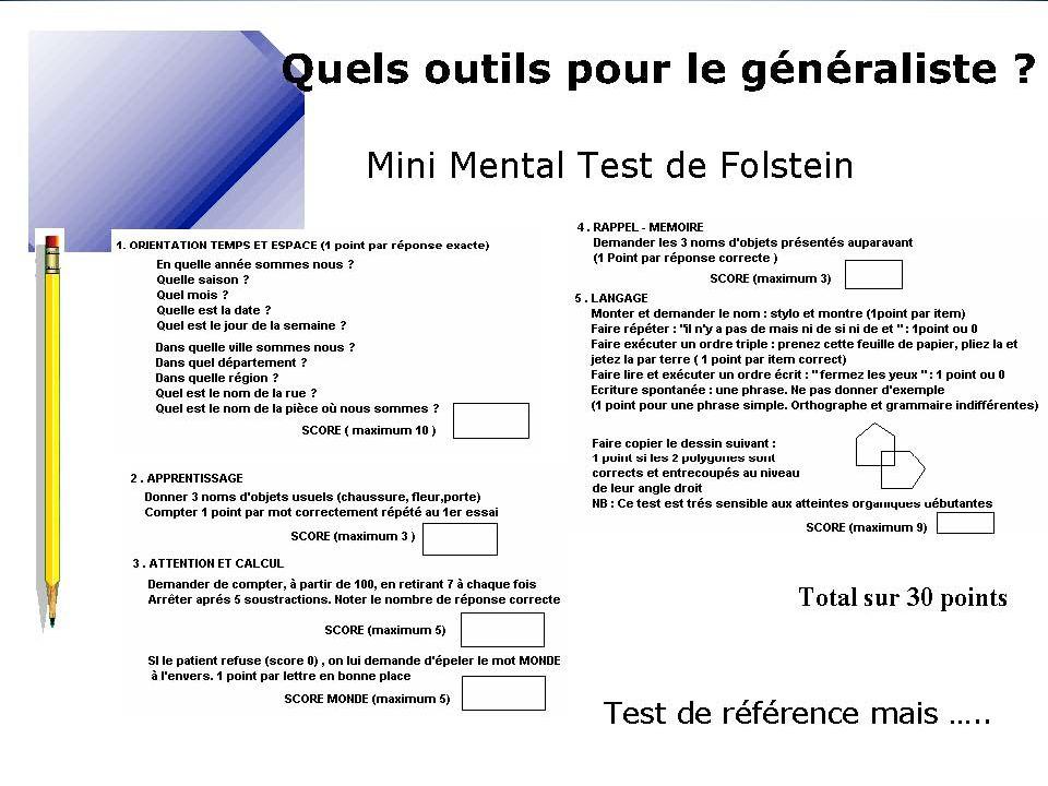 Test recommandé par l'HAS-explore l'orientation temporo-spatiale, l'apprentissage, la mémoire, l'attention, le calcul, le raisonnement, le langage et les praxies constructives