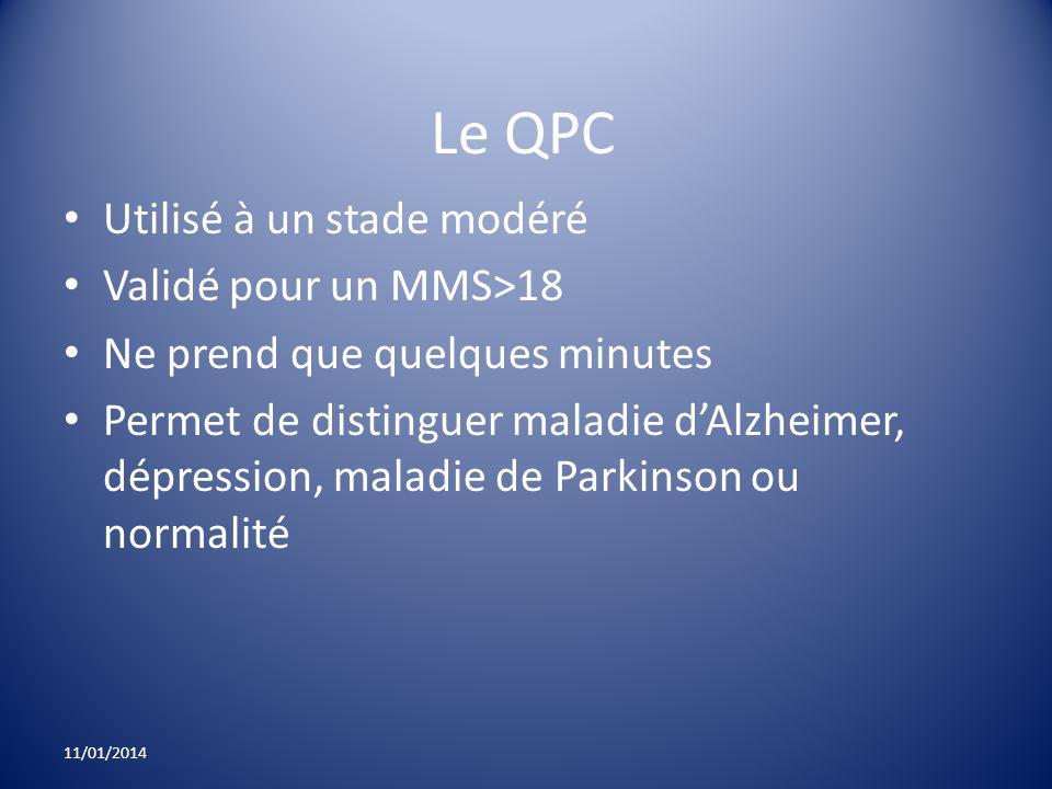 Le QPC Utilisé à un stade modéré Validé pour un MMS>18