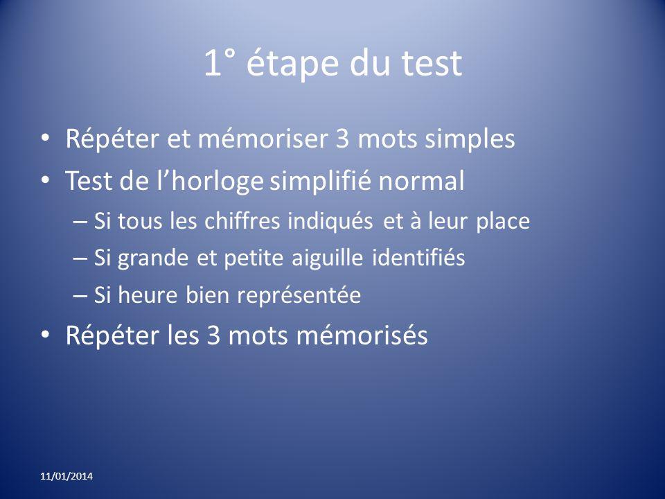 1° étape du test Répéter et mémoriser 3 mots simples