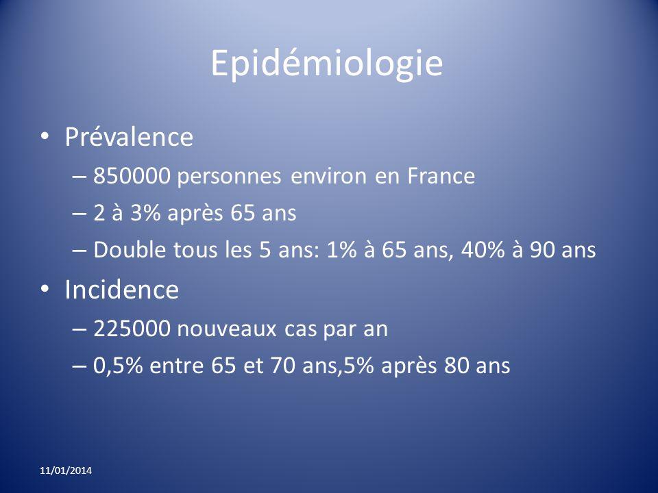 Epidémiologie Prévalence Incidence 850000 personnes environ en France